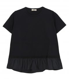 CLOTHES - CHIC COTTON JERSEY T-SHIRT WITH TAFFETA BOTTOM