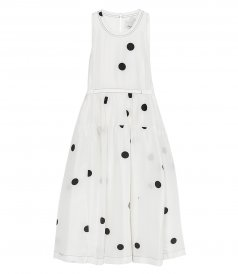 DOT PRINT BELTED MIDI DRESS