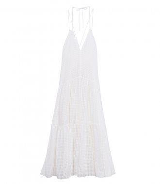 ORGANZA CHECK VOILE DRESS WITH SILK DETAILS