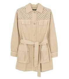 JUST IN - SHORT MILITARY PARKA WITH STUDS