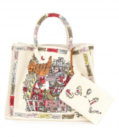 BAGS - PIAZZETTA DI CAPRI EMBROIDERED LARGE TOTE BAG