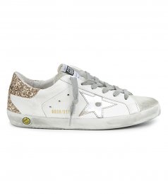 GOLD GLITTER HEEL SUPERSTAR SNEAKERS
