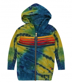 AVIATOR NATION - STRIPE STITCH ZIP TIE DYE HOODIE