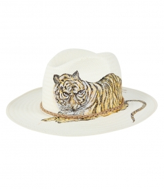 HAND PAINTED HAT LEOPARD