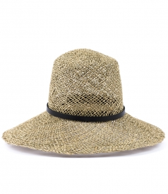 NATURAL STRAW WITH LEATHER HAT