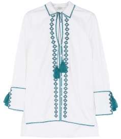 SALES - CRISS CROSS EMBR. TALITHA TASSEL SHIRT