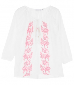 WHITE BLOUSE WITH PINK EMBR