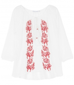 BLOUSES - WHITE BLOUSE WITH RED EMBR