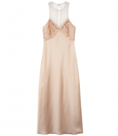 SLIP DRESS WITH RUCHED INSERTED BALL STUDS