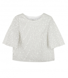 CLOTHES - BOUCLE SHORT SLEEVE FLARE TOP