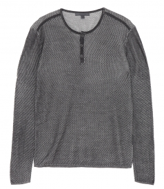 PLATED LONG SLEEVE HENLEY SWEATER