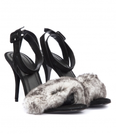 ANTONIA BLACK AND WHITE STRAP SANDAL