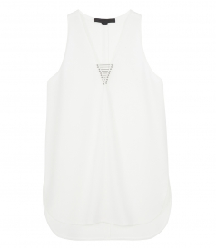 V NECK TANK WITH BARBELL DETAIL