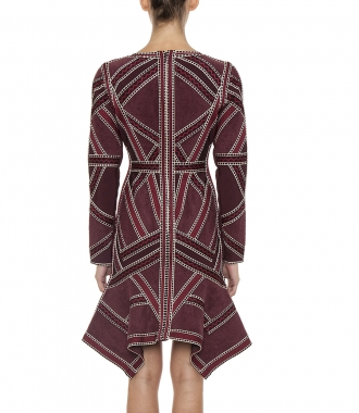 CARLOTTA GEOMETRIC JACQUARD KNIT COCKTAIL DRESS