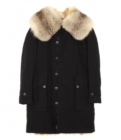 COATS - BLACK OVERCOAT WITH FOX FUR