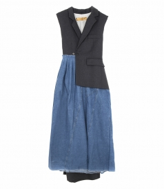 CHRISTINE LONG DRESS IN WOOL CLOTH AND DENIM