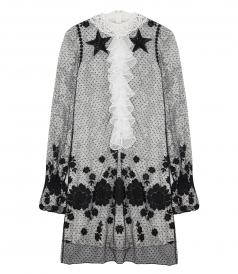 CLOTHES - BLACK & WHITE POLKA DOT LACE DRESS WITH RUFFLES