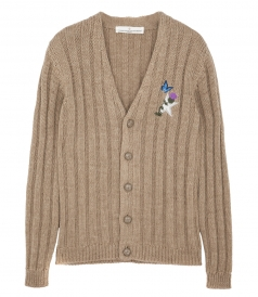 DOUGAL RIBBED CARDIGAN WITH EMBROIDERY