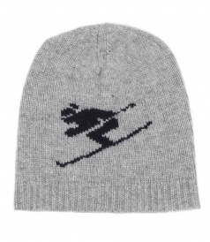 SKIER PRINT CASHMERE KNITTED HAT