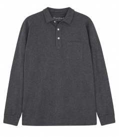 LONG-SLEEVED COTTON SLUB JERSEY POLO