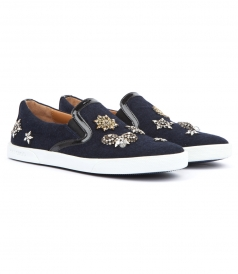 DEMI NAVY FLANNEL SLIP-ONS WITH EMBELLISHED BADGES