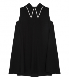 FOLD-OVER COLLAR WITH SPARKLING CRYSTALS TRIM TRAPEZE DRESS