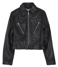 LEATHER FLIGHT JACKET WITH ZIPPER POCKETS