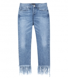 SALES - CROP FRAY STRAIGHT LEG FRINGED JEANS