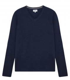MERINO WOOL V-NECK KNITTED PULLOVER