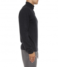 BUTTONED HIGHNECK COLLAR PULLOVER