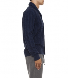 CASHMERE BLEND CABLE KNITTED CARDIGAN