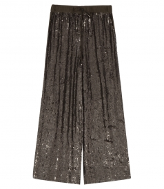 SEQUINED STAIGHT CROPPED TROUSERS