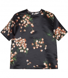 SALES - DAISY PRINT SATIN CROPPED TOP