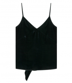 GREEN VELOUR SPAGGETI STRAP TOP