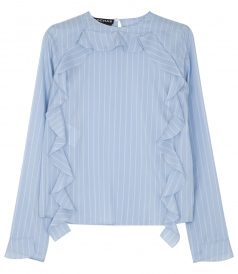 RUFFLED SIDE DETAIL LONG SLEEVE STRIPE SHIRT