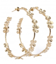 TAMAR FOUR LEAVES CLOVER HOOP EARRINGS