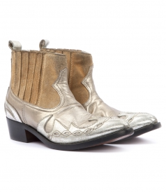 BOOTS - CLARA COWBOY METALLIC ANKLE BOOTS