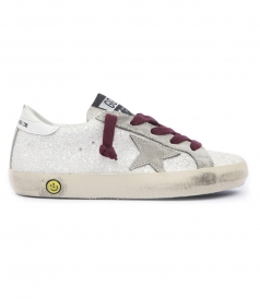 SUPER STAR SNEAKERS GLITTER APPLIQUED LEATHER WITH SUEDE STA