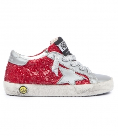 SUPERSTAR GLITTER APPLIQUED LEATHER SNEAKERS