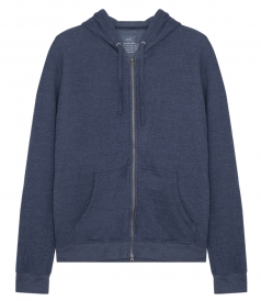 FRENCH TERRY OVERDYED ZIP HOODED SWEATSHIRT
