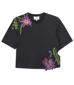 WOMEN EMBROIDERED CROPPED TOP
