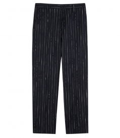 GOLDEN PURE WOOL PINSTRIPE PANTS
