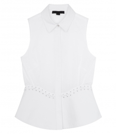 CURVED LACED UP PEPLUM SHIRT