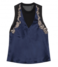 SLEEVELESS SEQUINED PURE SILK TOP