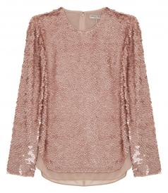 SEQUINED LONG SLEEVE BLOUSE