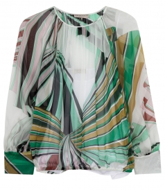 AIRY PRINTED SILK-CHIFFON SHEER BLOUSE