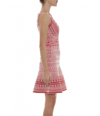 STACEY PLAITED LACE FLUTE DRESS