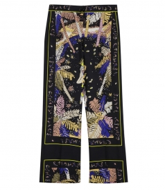 PRINTED SILK TWILL WIDE LEGGED PANTS