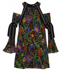 KALEIDOSCOPIC FLORAL OFF-THE-SHOULDER DRESS