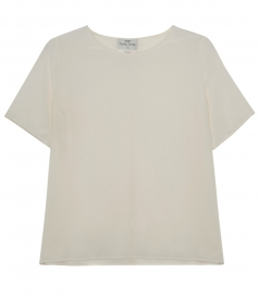 PURE SILK SHORT SLEEVE SHEER TOP